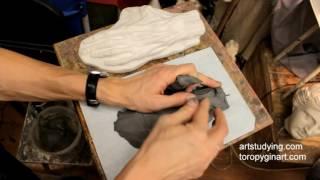 Смотреть онлайн Как слепить кисть для скульптуры из пластилина, урок