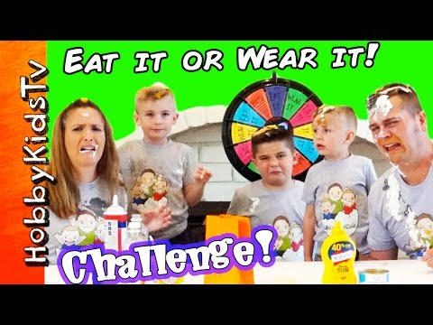 Eat It Or Wear it CHALLENGE! New Shirts + Messy Family Fun Contest HobbyKidsTV