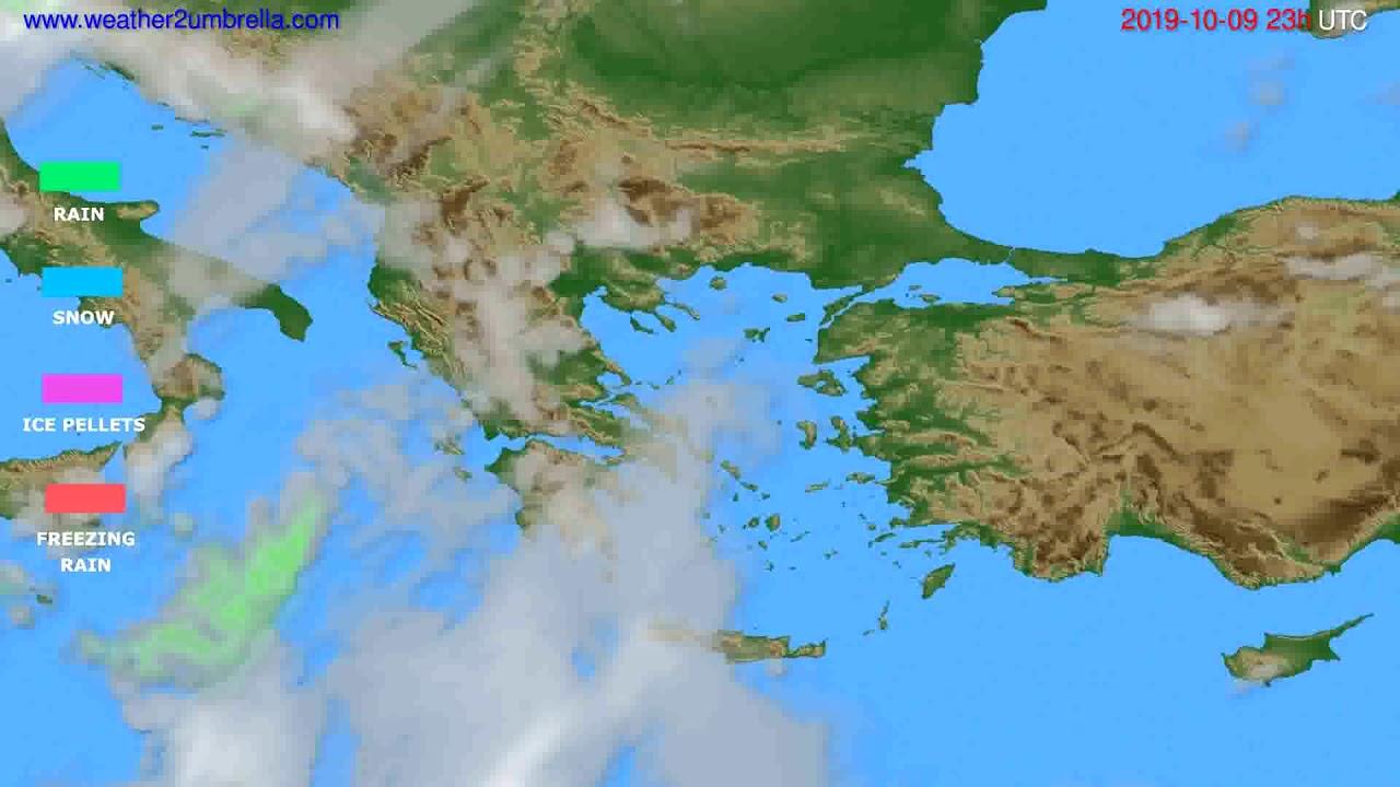 Precipitation forecast Greece // modelrun: 12h UTC 2019-10-06