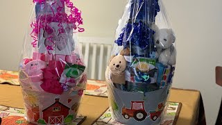 DOLLAR TREE BABY BASKET GIFTS 1 Boy And 1 Girl 11-5-19