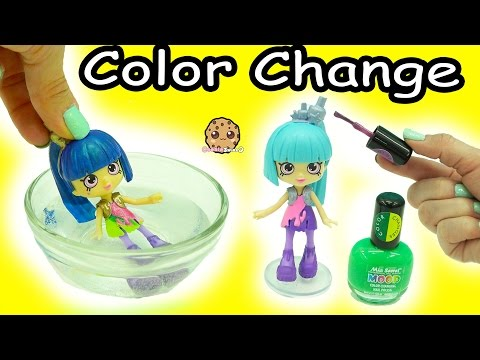 Color Changing Nail Polish Painting Shopkins Happy Places Shoppies Doll – DIY Craft Video