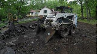 Removing blacktop then pouring concrete