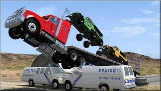 BeamNG Drive Insane Trucking Police Chases and Crashes #1