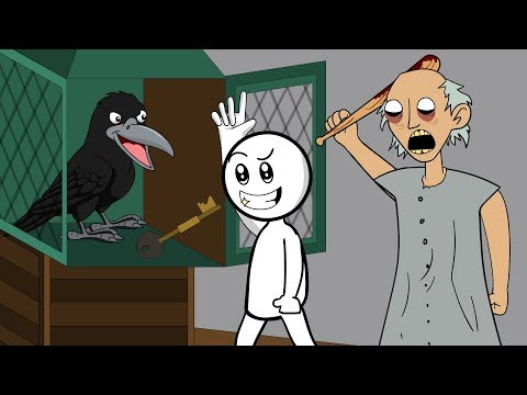 GRANNY THE HORROR GAME ANIMATION #16 : NEW PET BIRD and The Scary Granny (видео)