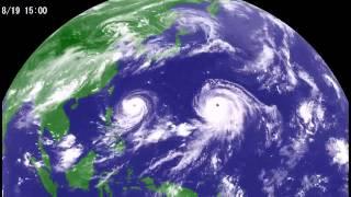 台風15号2015年8月気象衛星・天気図720pHD