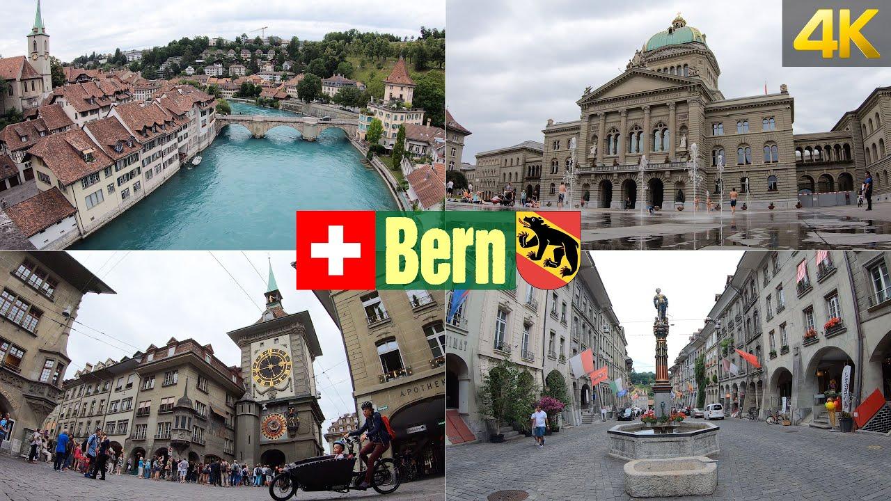 Walking through the Old City of Bern Switzerland in 4K