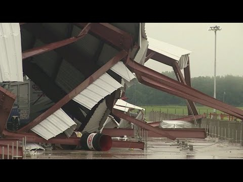 A strong storm system damaged the grandstands and buildings at a Missouri speedway and caused the postponement of an upcoming event. (May 21)
