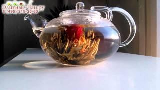 ☕► Связанный чай распускается в виде цветка