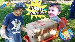 OOBLECK SLIME CHALLENGE! 450lbs Cornstarch Family Fun! FV