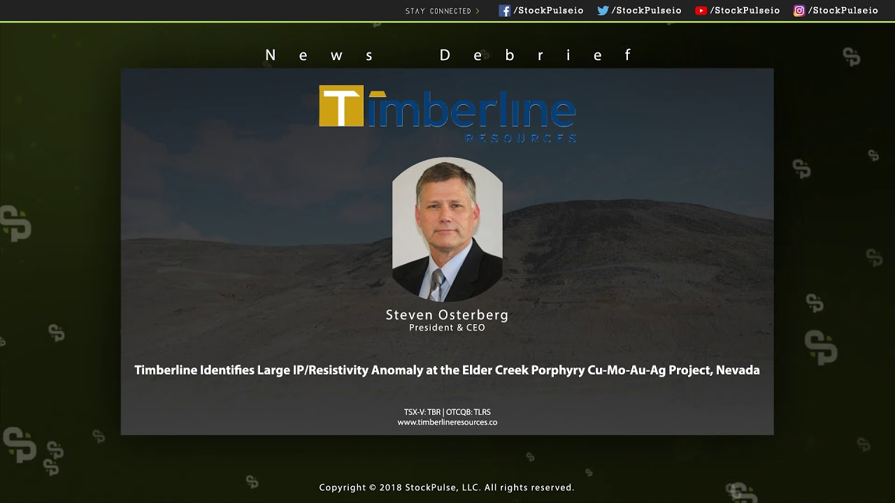Timberline Identifies Large IP/Resistivity Anomaly at the Elder Creek Porphyry Project