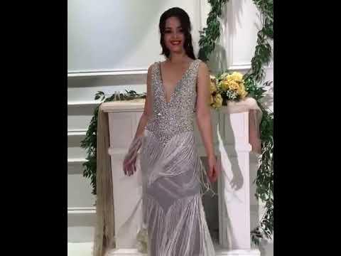 Ausgefallene V Ausschnitt Abendkleid Ballkleid Rückenausschnitt Mit Strass Perlen Fransen Silber