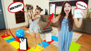I'll BUY ANYTHING Whatever You Land On! EXPENSIVE GIANT BOARD GAME Challenge!   Emily and Evelyn