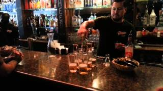 Flaming Dr. Peppers At Cheers Shot Bar