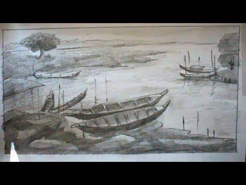 How TO Draw Scenery OF River And Boat Pencil Sketch Step By Step