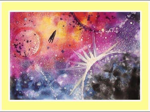 Как нарисовать космос поэтапно.  Поэтапный рисунок гуашью.