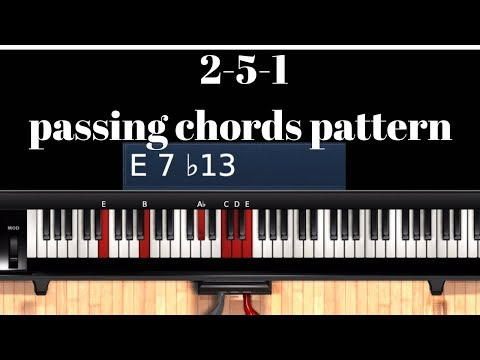 2-5-1 Passing chords 8 bars Gospel piano pattern in 6 Major scales