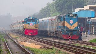Parabat Express Train of Bangladesh Railway speeding besides Maitree Express IR Rake