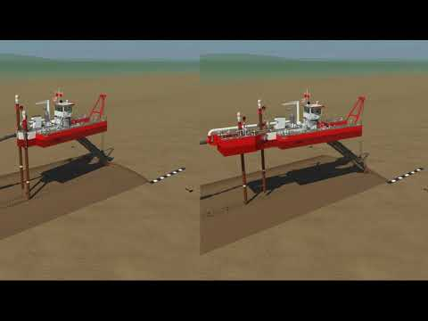 Animation of a dismountable cutterdredger