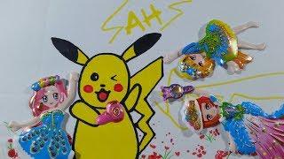 Pokemon Pikachu phóng điện sticker 3 cô gái/Vẽ Pikachu đơn giãn/Dán hình búp bê múa