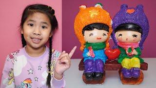Bé Bún Tô Tượng Elsa – Bé Bắp Tô Tượng Bạn Trai và Bạn Gái   Coloring Statue Toys