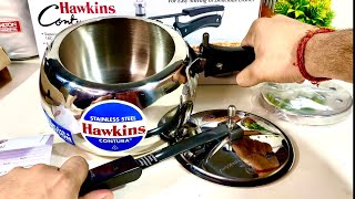 Hawkins Contura Steel Cooker with Hot Plate Stand   Pressure Cooker 3L   Stainless Steel cooker