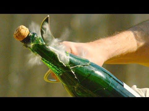 Champagne Saber Captured in Slow Motion