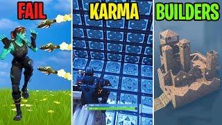 HIT BY 100 ROCKETS! - FAIL vs KARMA vs BUILDERS - Fortnite Battle Royale Funny Moments