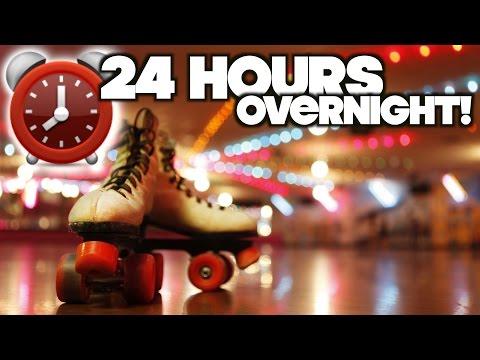 LOCKED IN! 24 Hour Overnight Challenge Fort At Roller Skating Rink! | OmarGoshTV