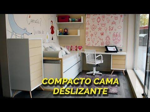 Dormitorio infantil con cama compacta, cama deslizante y cajones inferiores