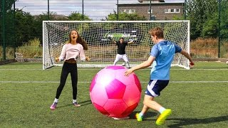 GIANT FOOTBALL CHALLENGES vs MY SISTER