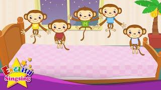 Năm Ít Monkeys Nhảy trên giường ngủ - Nursery Rhymes được ưa thích