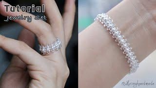 Wedding Jewelry DIY. Ring & Bracelet. How To Make Beaded Jewelry