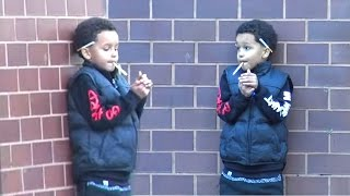 Small Child Smoking Cigarettes - Social Experiment