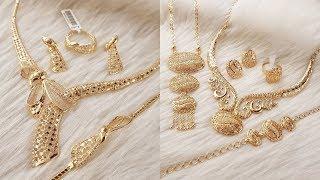 LATEST ARABIC BRIDAL GOLD NECKLACES SETS