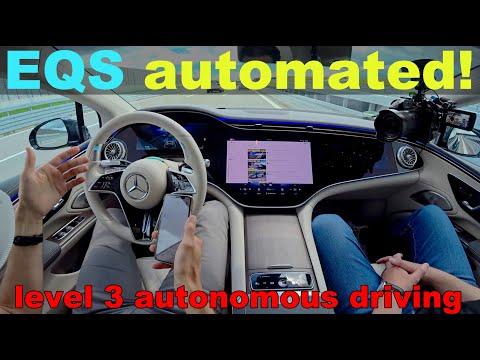 Level 3 Autonomous Driving with the Mercedes EQS ! Self-Driving EV test