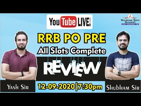 RRB PO PRE || All Slots Complete Review || SSA || Yash Sir and Shubham Sir