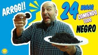 24 HORAS COMIENDO COLOR NEGRO 🍩 Comida Por Colores All Day Eating Black Food | Momentos Divertidos