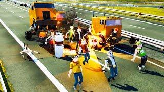 When Semi Trucks Meet Explosive Pedestrians in Wrecked