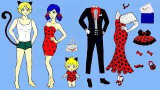 PAPER DOLLS FAMILY DRESS UP LADYBUG & CAT NOIR COSTUMES DRESSES ACCESSORIES DOLLHOUSE PAPERCRAFTS