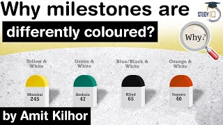 Colour Codes of Indian Highway Milestones - Why Highway Milestones are differently coloured?