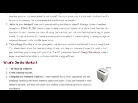 Buying a New Washing Machine - How to Choose a New Washer