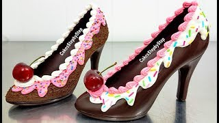 How To Make a CHOCOLATE HIGH HEEL SHOE  / Tempered Chocolate & Royal Icing by Cakes StepbyStep | Kholo.pk