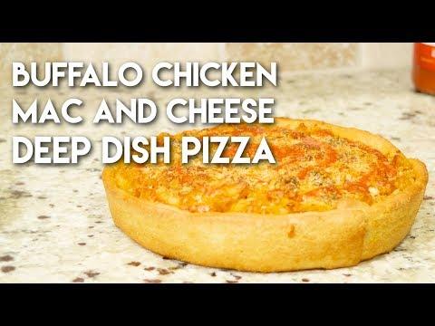 Buffalo Chicken Mac and Cheese Deep Dish Pizza