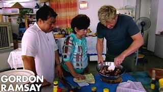 Gordon Ramsay Helps Prepare Food For A Malaysian Dinner Party | Gordon