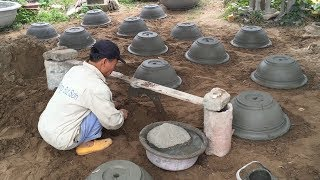 Production A Cement Pot Easy With Manual Tools Homemade - Traditional Construction Techniques