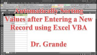 Automatically Sorting Values After Entering A New Record Using Excel VBA