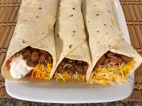 How To Make Burritos-Mexican Food Recipes-Beef,Beans,Cheese
