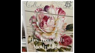 Dry Iron Poster With Mod Podge To Dresser - Recreation - Redesign - Decor