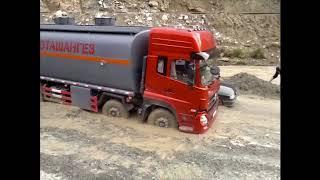 ДТП. Застрял бензовоз. Трасса Душанбе-Худжанд, учачток дороги Айни.