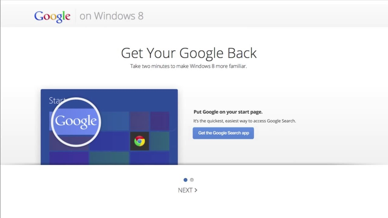 How To Get Your Google Back In Windows 8